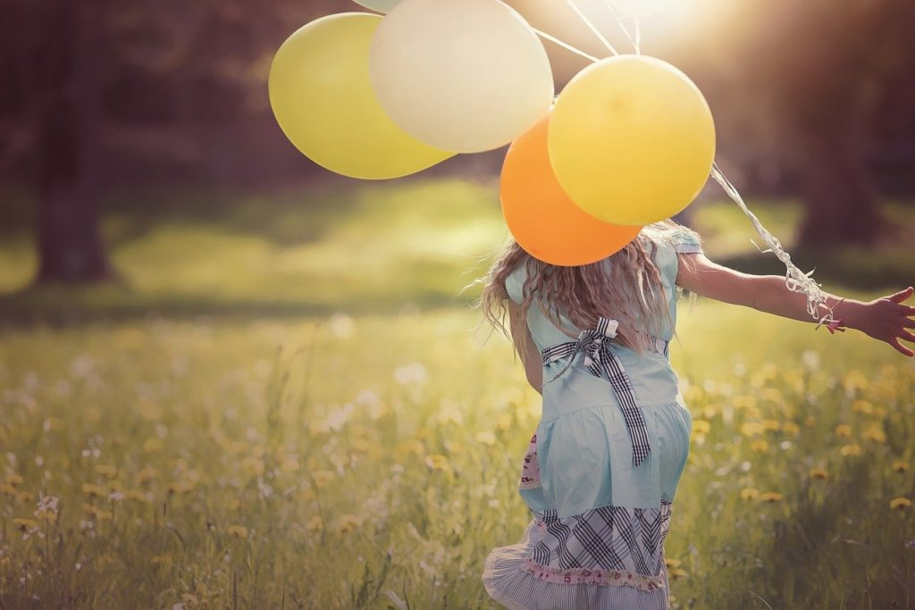 girl, balloons, child